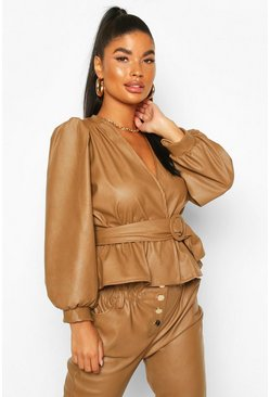 Tan Petite Belted Peplum Leather Look Top
