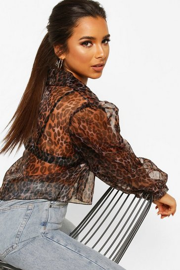 Brown Petite Leopard Organza Cropped Shirt