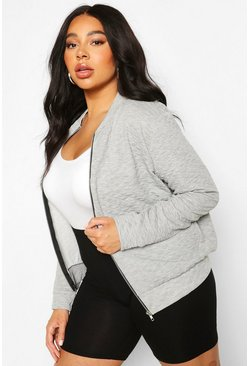 Grey Plus Quilted Sweat Zip Through Bomber
