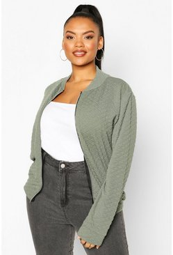 Khaki Plus Quilted Sweat Zip Through Bomber