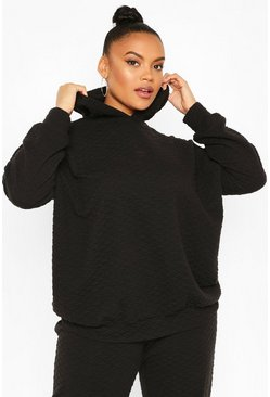 Black Plus Quilted Sweat Oversized Hoody
