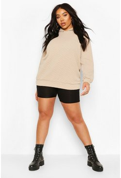 Stone Plus Quilted Sweat Oversized Hoody