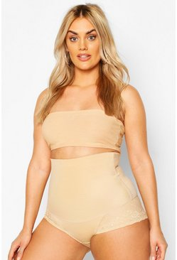 Nude Plus Lace Trim High Waisted Control Brief