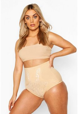Nude Plus Lace Panel Contrast Brief