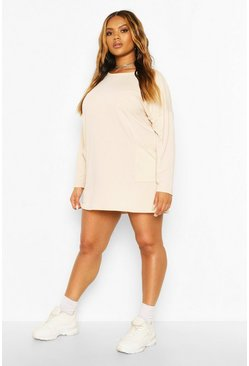 Ecru Plus Side Pocket Longsleeve Sweatshirt Tunic