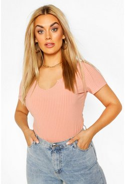 Apricot Plus Ribbed Notch Plunge Cap Sleeve Bodysuit