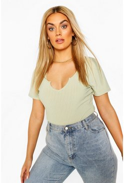 Sage Plus Ribbed Notch Plunge Cap Sleeve Bodysuit