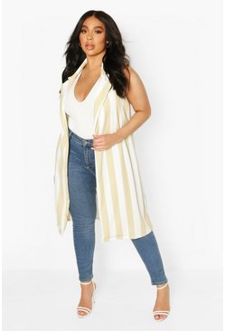 Stone Plus Stripe Sleevless Duster
