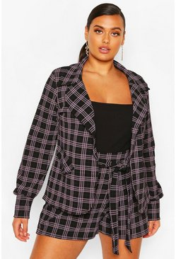Black Plus Small Check Shawl Collar Oversized Blazer