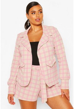 Stone Plus Small Check Shawl Collar Oversized Blazer
