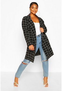 Black Plus Grid Check Oversized Duster