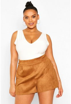 Camel Plus Suedette Tailored Shorts