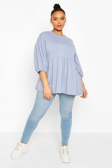 Denim-blue Plus Extreme Puff Sleeve Sweat Smock Top