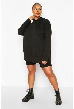 Black Plus Split Hem Oversized Hoody