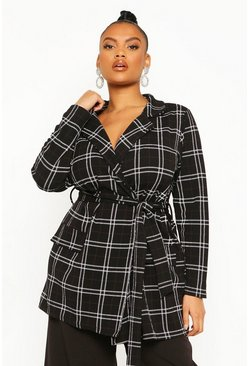 Black Plus Check Belted Tie Blazer