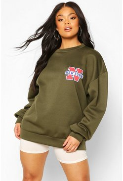 Khaki Plus New York Pocket Print Oversized Sweat