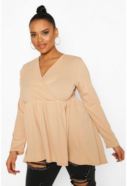 Stone Plus Wrap Dipped Back Tunic Jersey