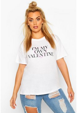 "Plus T-Shirt mit ""My Own Valentine""-Slogan, Weiß"