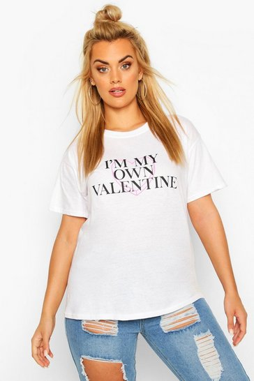 White Plus My Own Valentine Slogan T-Shirt