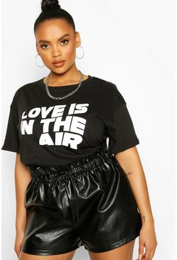 Plus Love T-shirt con slogan Is The Air, Nero