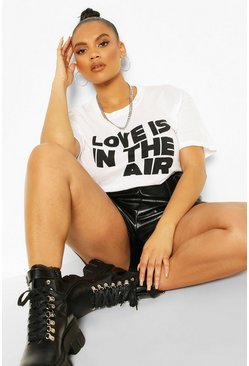 White Plus Love Is In The Air Slogan T-Shirt