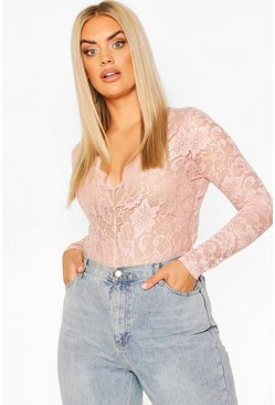 Blush Plus Scallop Lace Longsleeve Plunge Bodysuit