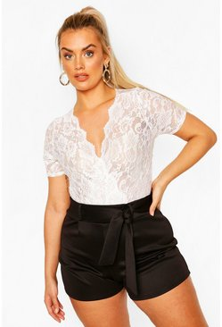 White Plus Lace Wrap Short Sleeve Bodysuit