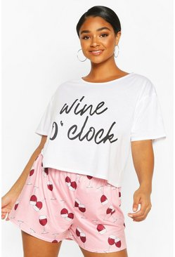 White Plus Wine O'Clock PJ Set