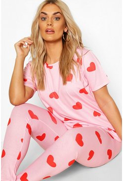 Plus All Over Heart PJ Set, Pink