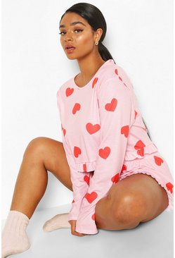 Plus All Over Heart Frill PJ Set, Pink