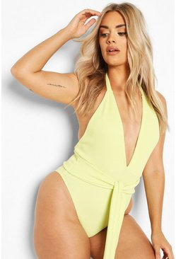 Lime Plus Crinkle Tie Belt Swimsuit
