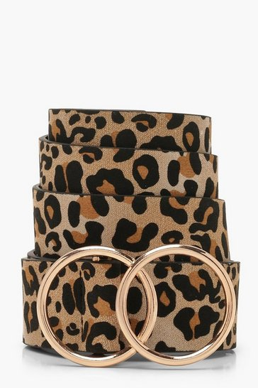 Natural Plus Leopard Double Ring Belt
