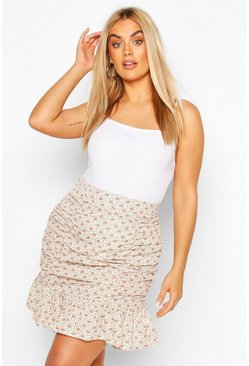 Ivory Plus Ditsy Floral Ruched Ruffle Mini Skirt