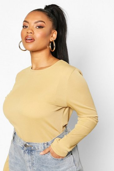 Olive Plus Soft Rib Crew Neck Long Sleeve Top