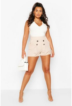 Plus Button Pocket Tailored Short, Stone
