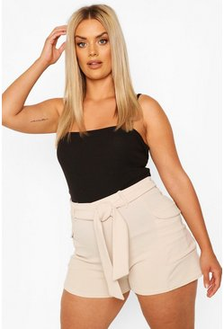 Plus Tailored Pocket Belted Short , Stone