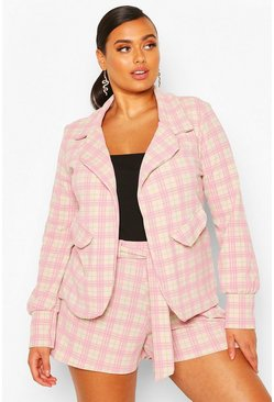 Plus Check Tailored Belted Short, Blush