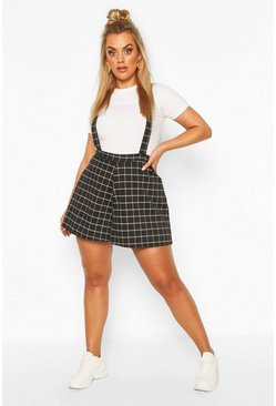 Black Plus Grid Tailored Check Pinafore Short