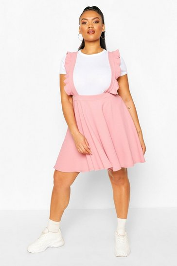 Blush Plus Frill Detail Strap Pinafore Skirt
