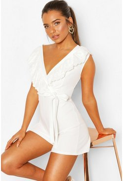 White Petite Broderie Trim Playsuit