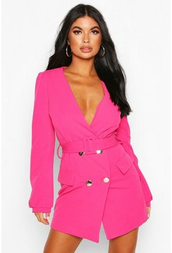 Hot pink Petite Double Breasted Collarless Blazer Dress