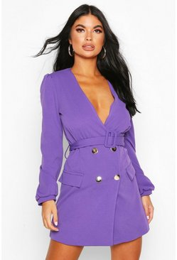 Petite Double Breasted Collarless Blazer Dress, Violet