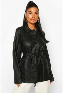 Black Petite Pocket Detail Belted Leather Look Shacket