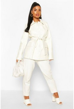 White Petite Pocket Detail Belted Leather Look Shacket