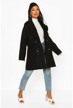Black Petite Oversize Double Breasted Pocket Detail Coat