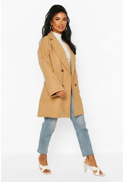 Camel Petite Oversize Double Breasted Pocket Detail Coat