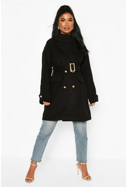 Black Petite Wool Look Trench Coat
