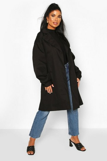 Black Petite Volume Sleeve Belted Trench Coat