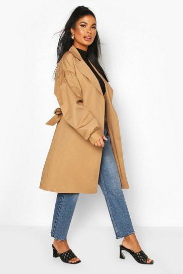Camel Petite Volume Sleeve Belted Trench Coat