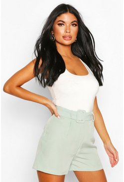 Sage Petite Woven Belted Tailored Shorts